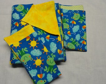 FROGS and Umbrellas  Flannel Blanket and Burp Cloths Set
