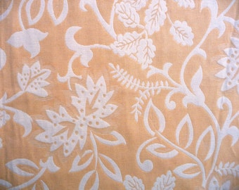 "Gorgeous Golden Yellow Floral Brocade Fabric Sample - Reversible Woven Botanical Flower Design - Cream Off White - Home Decor - 26"" square"