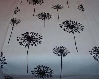 """BLACK DANDELIONS RUNNER Black on white flower floral table runner 36"""", 66"""", 72"""""""