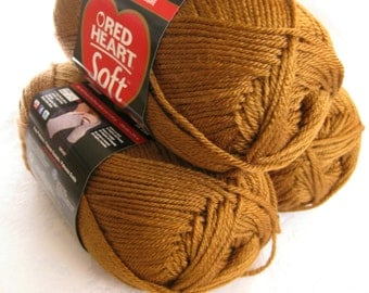 Red Heart Soft Yarn, TOAST a light golden brown shade,  medium worsted weight