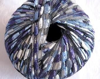 Berlini Ladder Ribbon Yarn,  BLUE AMETHYST,  railroad yarn, blue shades with cream,  Maxi 65