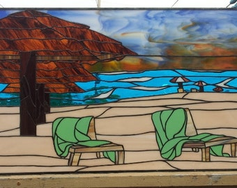 """Stained glass Hanging Panel - """"Hawaii Beach"""" (P-37)"""