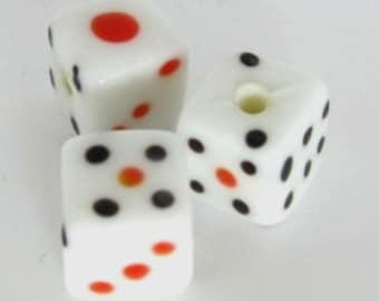 Lucky Dice Lampwork Beads- Set of Three
