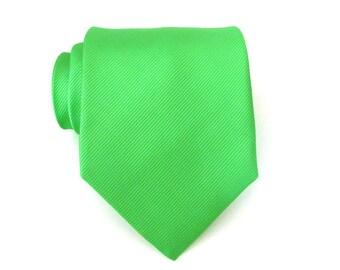 Mens Ties. Men's Tie. Green Necktie Green Tonal Stripes Silk Tie