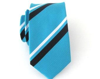 Mens Ties Necktie Turquoise Black White Stripes Skinny Mens Tie