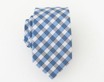Mens Ties Mens Skinny Tie Blue Checkers Skinny Necktie