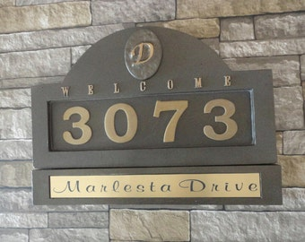 Monogram HOUSE NUMBERS Address Plaque Large