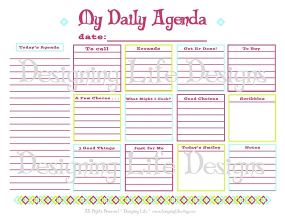 Daily Agenda Printable - Daily Planner Page - PDF To Do List Organizer