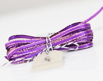 Wholesale Purple Sparkle Satin Twine Ribbon 50 yards