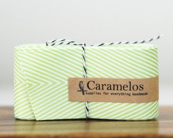 3 Yards of Celery Green and White Chevron Stripe Twill ribbon