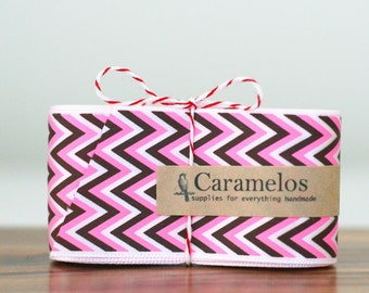 Clearance! 3 Yards of Hot pink, Brown and White Chevron Stripe ribbon