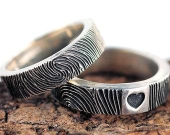 Fingerprint Wedding Band Ring Heart Sterling Silver Jewelry