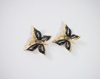 Hong Kong Enamel Butterfly Brooch 50s 60s Set Vintage Jewelry