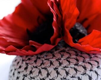 Poppy Trio Straw Cocktail Hat Flower Fascinator