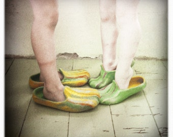 Mom and dad - 2 pairs felted slippers - Yellow and turquoise wool clogs - natural, eco friendly - Mother's Day gift