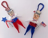 YORKSHIRE TERRIER July 4th PATRIOTIC vintage style chenille ornaments feather tree set of 2