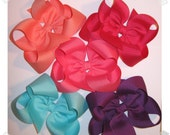 Custom Package of 5 Large Loopy Grosgrain Hair Bows - You Choose from OVER 100 AVAILABLE COLORS
