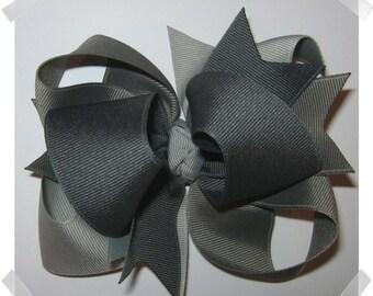 LARGE Triple Loop Grosgrain Hair Bow in Shades of Grey
