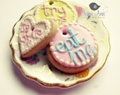 Eat me, Try one, Take one Cookies- Charms or Buttons (set of 3)