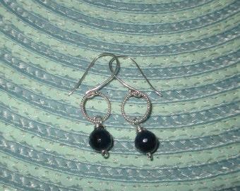 Wire Wrap Sterling Silver Indigo Blue Agate Drop Earrings