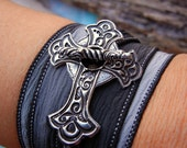 Religious Jewelry Gift, Silver Crucifix Silk Wrap Bracelet, Christian Jewelry, Vintage Style Cross Bracelet, Religious Sympathy Gift