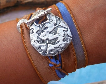 Silk Wrap Bracelet, Wrap Bracelet, Silk Ribbon Bracelet, Silver Silk Wrap Bracelet, Silk Wrap Bracelet Dragonflies, Silver Wrap Bracelet