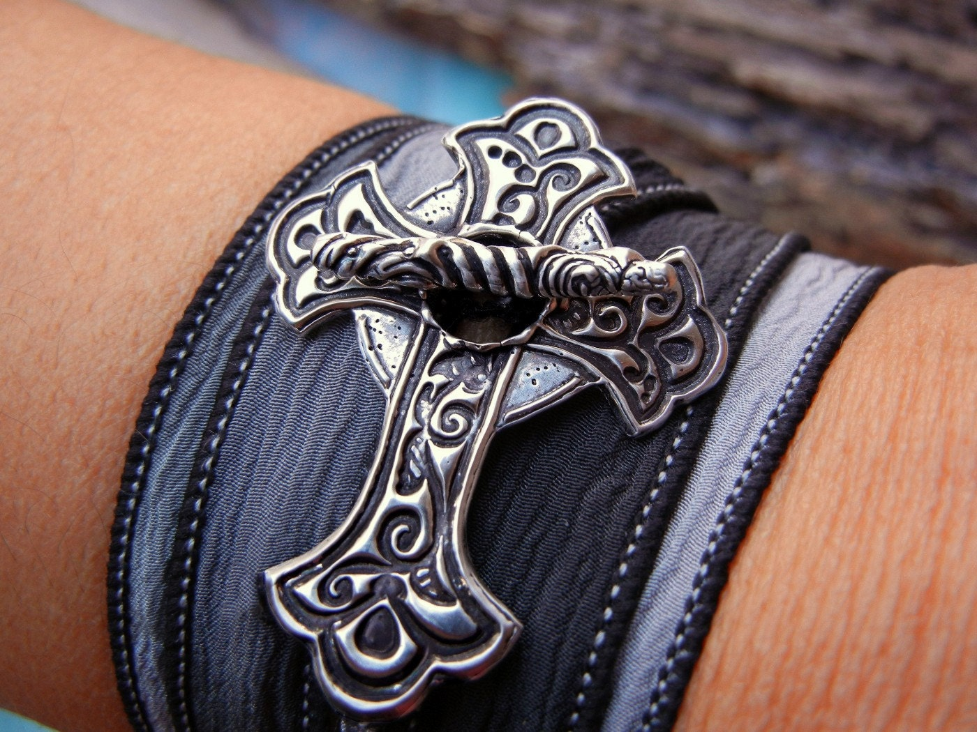 Religious Jewelry Gift Silver Crucifix Silk Wrap Bracelet