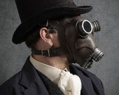 Steampunk Gas mask No. 66 in black iron leather