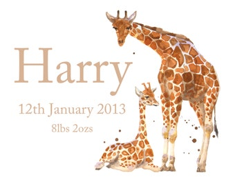 Baby Announcement Print, Custom baby announcement. giraffe baby print, giraffe art