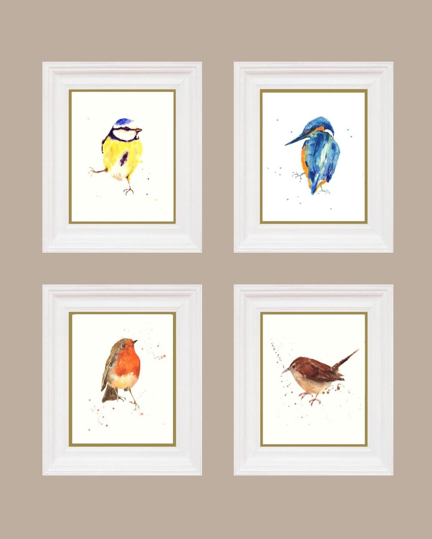 Set Of Bird Prints Watercolour Birds Extra Large 11x14 Inch