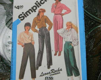 Vintage Simplicity Leona Rocha Misses Trousers and Pants Pattern n 6528 Uncut Size 8