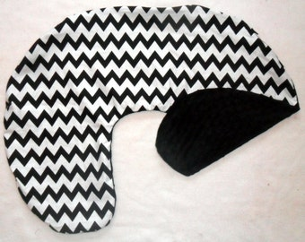 Black and White Chevron and Black Minky Dot Nursing Pillow Cover Fits Boppy CHOICE OF MINKY