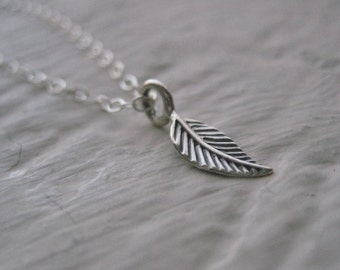 Little Leaf Necklace- Sterling Silver, Simple, Everyday Jewelry, Nature