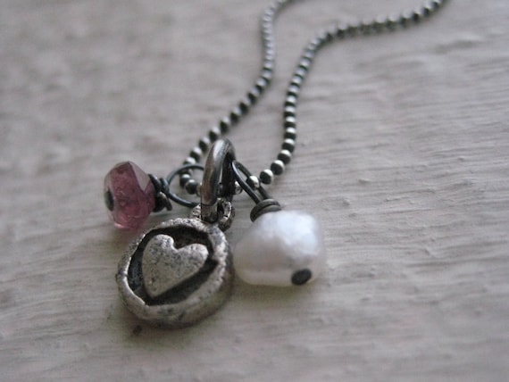 Sweet Darling Necklace- Sterling Silver Oxidized, Heart Charm, Freshwater Pearl, Sapphire