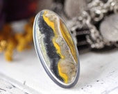 Ring - Bumble Bee Jasper - Sterling silver - black yellow grey - size 7 - ooak