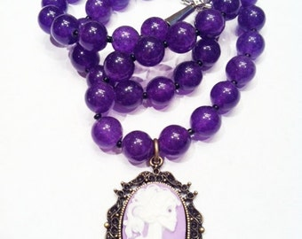 Classy Amethyst  Day of the Dead Lolita Necklace Pendant-Every Design Tells A Story-