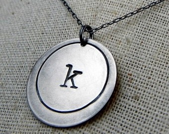 Letter Necklace, Initial Necklace, Vintage Typewriter Sterling Silver Charm Personalized Necklace EMMA by E. Ria Designs