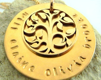 Family Tree Necklace, Personalized Gold Bronze Mothers Necklace, Custom Hand Stamped Mommy Jewelry ROSE by E. Ria Designs