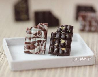 Chocolate Bar Post Earrings - Nuts, Dark, Marbled