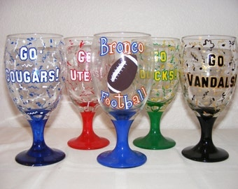 """Custom painted """"Team"""" glass"""