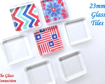 20  Flat Smooth 23mm Glass Tiles Squares 7/8 inch pendants magnet making Necklace DIY Kit Supplies Cabochons