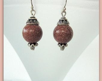 Earrings-Goldstone-Bali silver