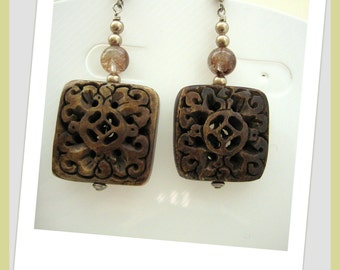 Earrings - Decorative Wood squares- Muscovite-Golden pearls