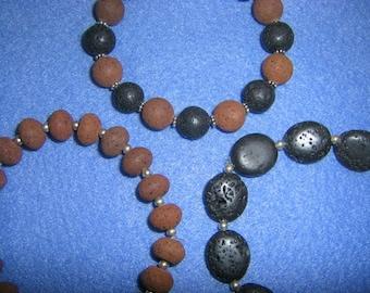 Lava Rock Sterling Silver Stretch Bracelet