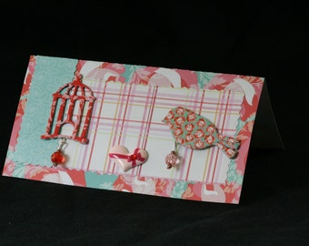 Checkbook Cover Vinyl Unique Handmade Bird Cage