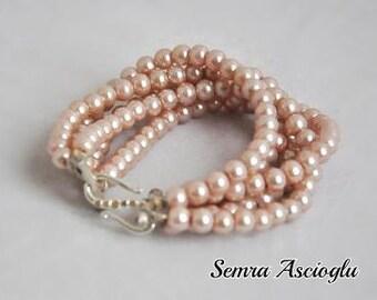 Layered  Pearl Bracelet, Blush Pearl , blush jewelry, Weddings , Tea Rose Pearl Bracelet,Bridesmaids Gifts