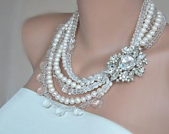 Royal Weddings Victorian Style Weddings Chunky Statement Pearl and Crystal Necklace