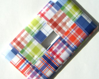 Madras Plaid Light Switch Cover Switchplate -- Blue Green Red Boy Nursery