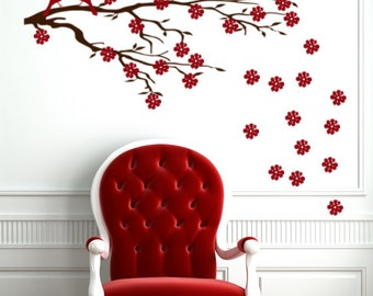 Cherry Blossom Wall Decal, Custom Vinyl Decals, Office Wall Decor, Japanese Decorations, Bedroom Wall Decor, Teen Gifts, Living Room Wall