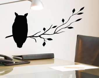 Owl wall decal sitting on a Branch, Rustic Decor, Window decal, Owl Decor, Bird Wall Decals